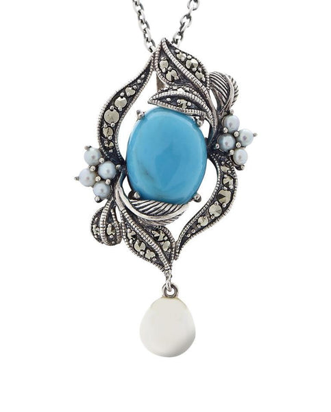 Turquoise and Fresh Water Pearl Drop Pendant