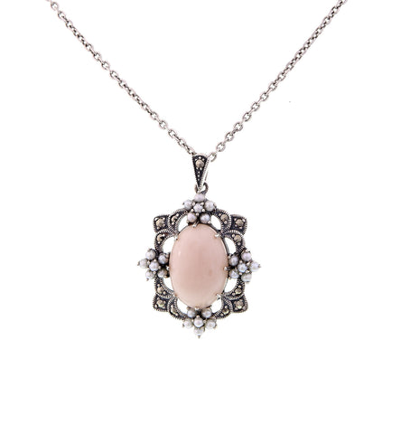 Pink Opal and Seed Pearl Solitaire Pendant