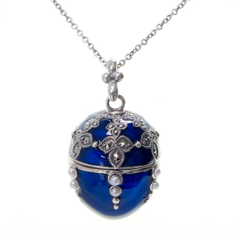 Enameled Egg Pendant (Blue)
