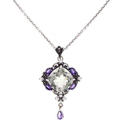Two Tone ( Purple & Green ) Amethyst Drop Pendant