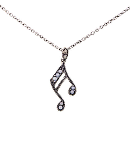 Seed Pearl Musical Note Pendant