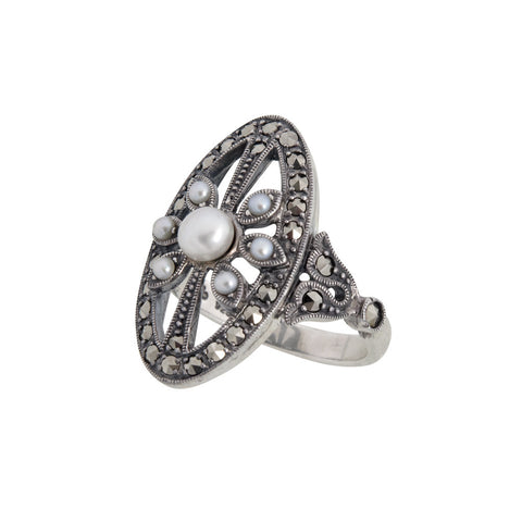 Seed Pearl and Marcasite Oval Ring