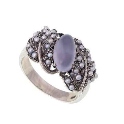 Oval Gemstone and Seed Pearl Band Ring (Blue Chalcedony)