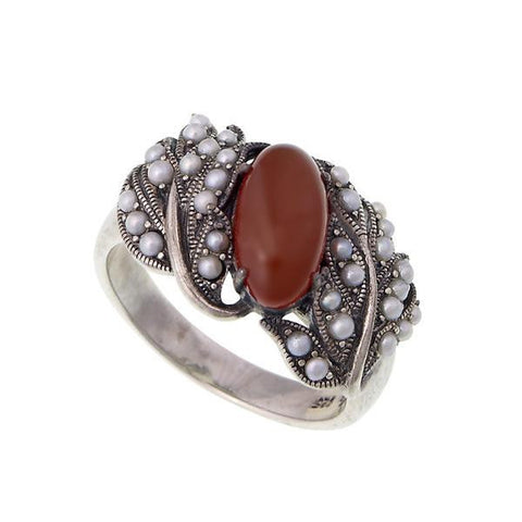 Oval Gemstone and Seed Pearl Band Ring (Carnelian)