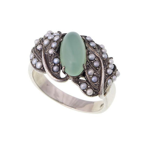 Oval Gemstone and Seed Pearl Band Ring (Chrysophrase)