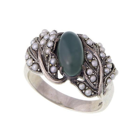 Oval Gemstone and Seed Pearl Band Ring (Green Agate)