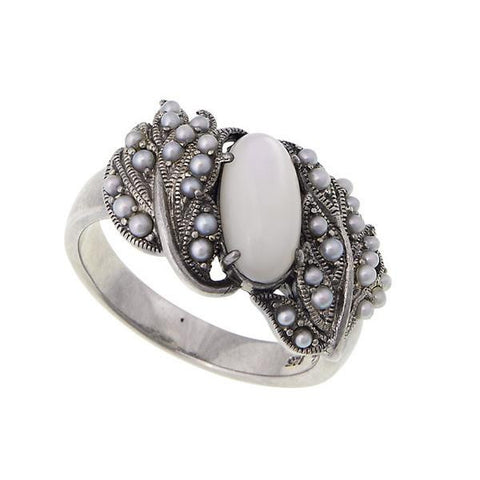 Oval Gemstone and Seed Pearl Band Ring (Mother of Pearl)