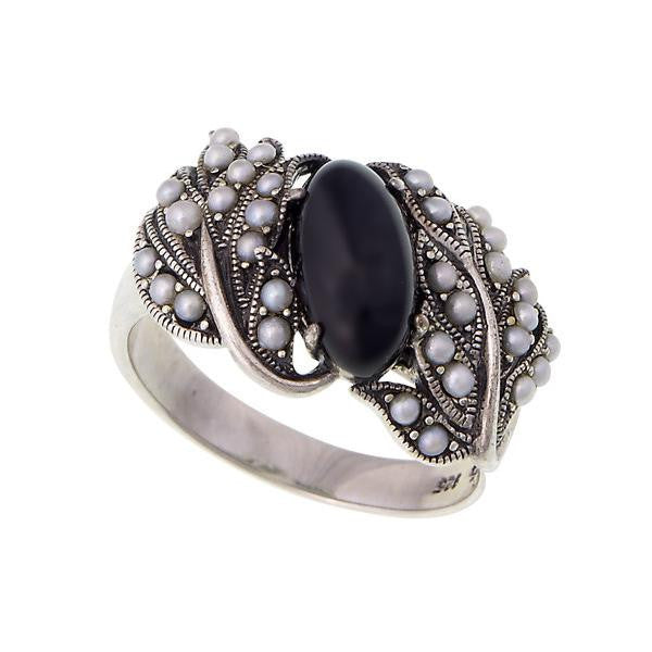 Oval Gemstone and Seed Pearl Band Ring (Onyx)