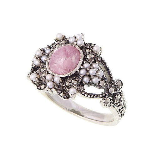 Decorative ring with seed pearl and marcasite (Rhodochrosite)
