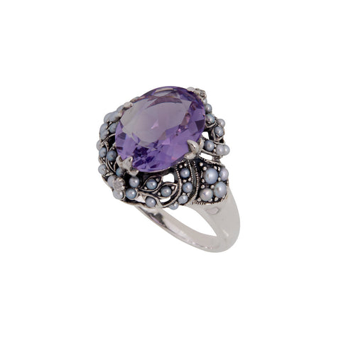 Cocktail Ring with Large Oval Stone and Seed Pearl (Amethyst)
