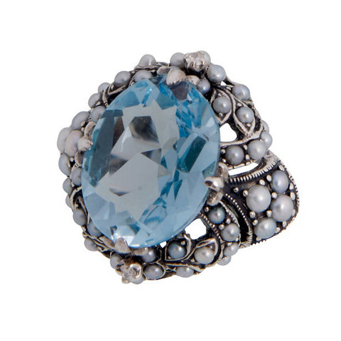 Cocktail Ring with Large Oval Stone and Seed Pearl (Swiss Blue Topaz)