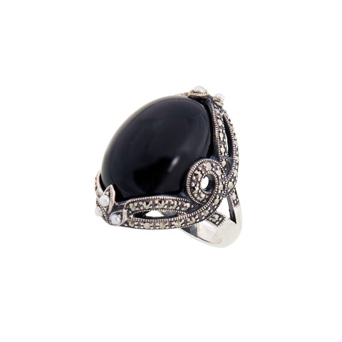 Large Oval Onyx Ring