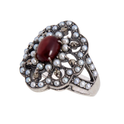 Seed Pearl and Garnet Floral Ring