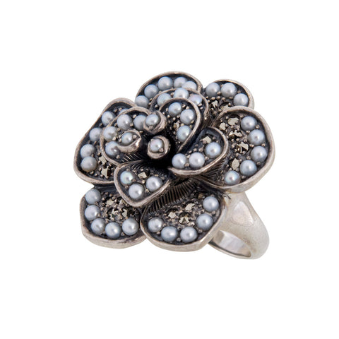 Seed Pearl Rose Ring