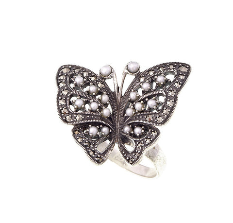 Marcasite and Seed Pearl Butterfly Ring