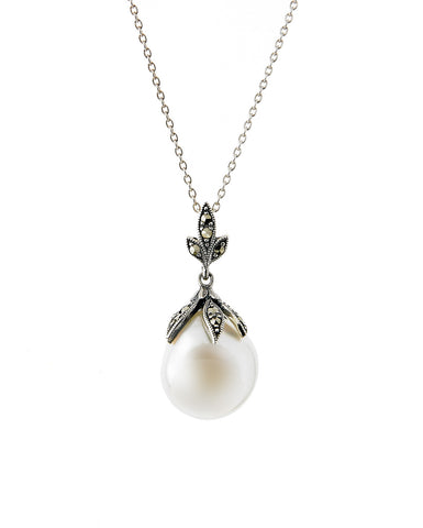 Baroque Pearl and Marcasite Pendant