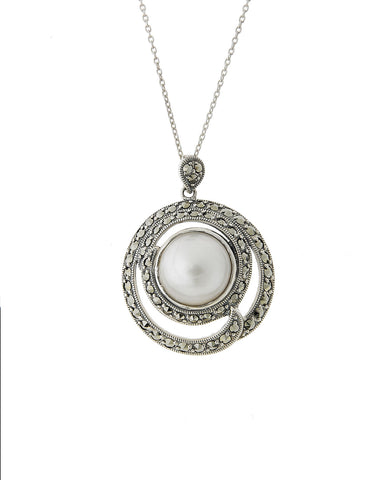 Marcasite swirl Pendant with Mabe Pearl