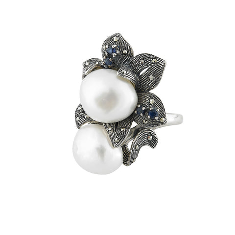 Wild Flower Statement Ring with Baloque Pearl (Sapphire)