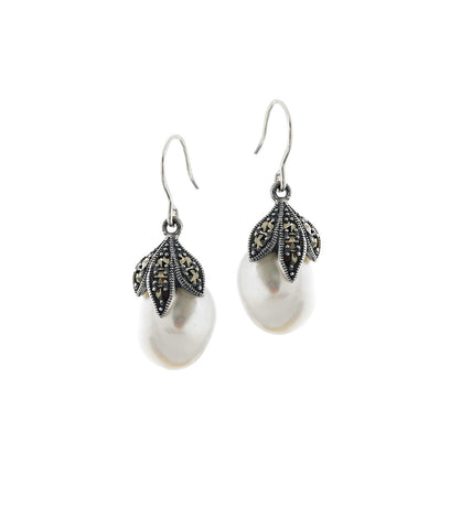 Baroque Pearl and Marcasite Dangling Earrings