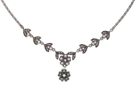 Marcasite and Emerald Flower Y- Necklace