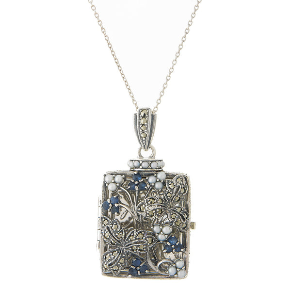 Seed Pearl and Marcasite Oblong Rectangle Locket Pendant (Sapphire)