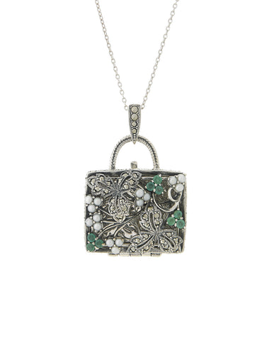 Seed Pearl and Marcasite Pocket Book Locket Pendant (Emerald)