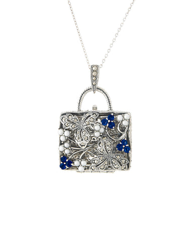 Seed Pearl and Marcasite Pocket Book Locket Pendant (Sapphire)