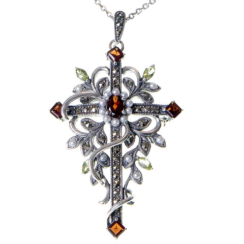 Vine wrapped Cross Pin / Pendant (medium) (Garnet / Peridot)