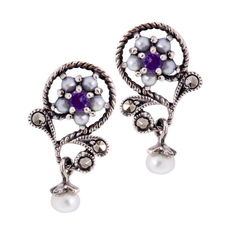 Petit Floral Dangling Earrings(Amethyst)
