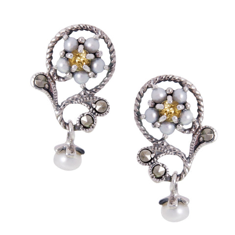 Petit Floral Dangling Earrings(Citrine)