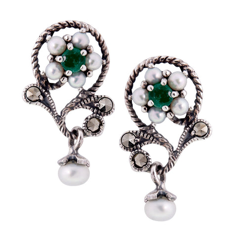 Petit Floral Dangling Earrings (Emerald)