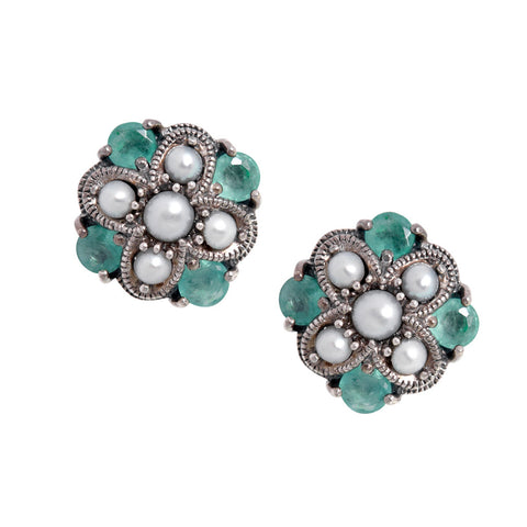 Semi Precious Criss Cross Stud Earrings(Emerald)