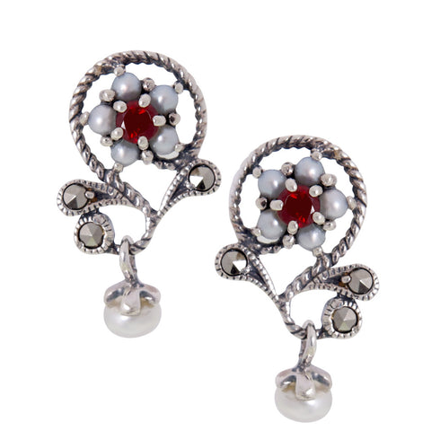 Petit Floral Dangling Earrings(Garnet)