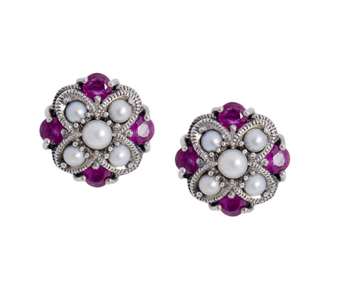 Semi Precious Criss Cross Stud Earrings(Ruby)