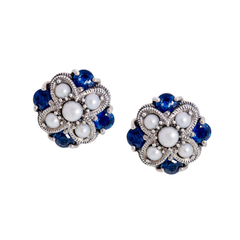 Semi Precious Criss Cross Stud Earrings(Sapphire)