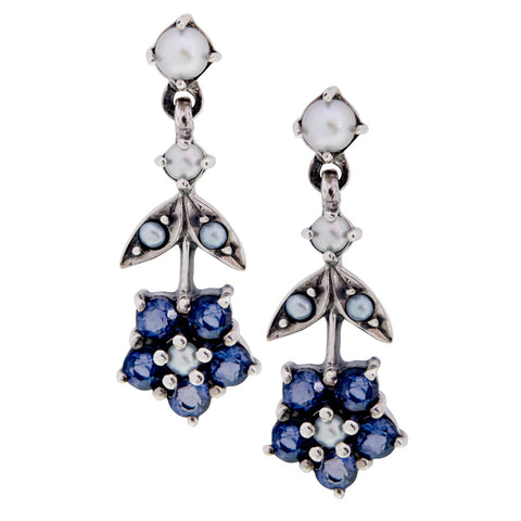Upside down Floral Dangling Earrings(Iolite)
