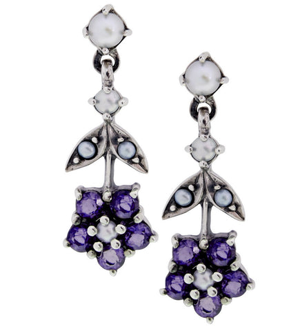 Upside down Floral Dangling Earrings(Amethyst)