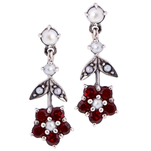 Upside down Floral Dangling Earrings(Garnet)
