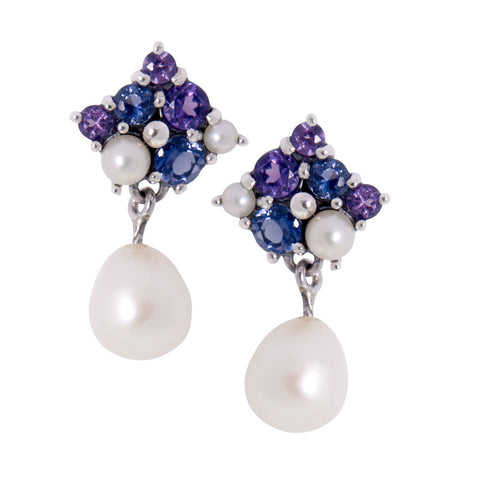 Iolite and Amethyst cruster dangling earring with pearl