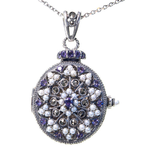 Seed Pearl and Marcasite Oval Locket Pendant (Amethyst)