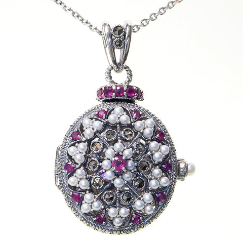 Seed Pearl and Marcasite Oval Locket Pendant (Ruby)