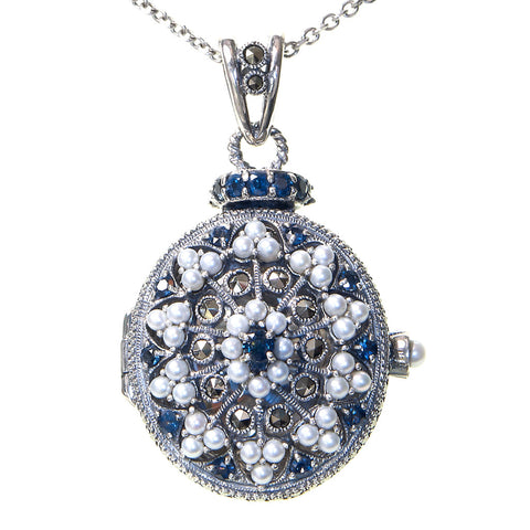 Seed Pearl and Marcasite Oval Locket Pendant (Sapphire)