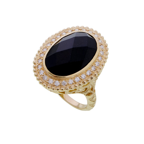Onyx and Diamond Filigree Ring