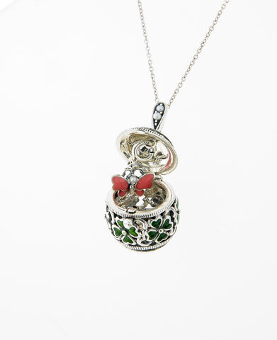 Good Luck Four-Leaf Clover Enamel Egg Locket Pendant