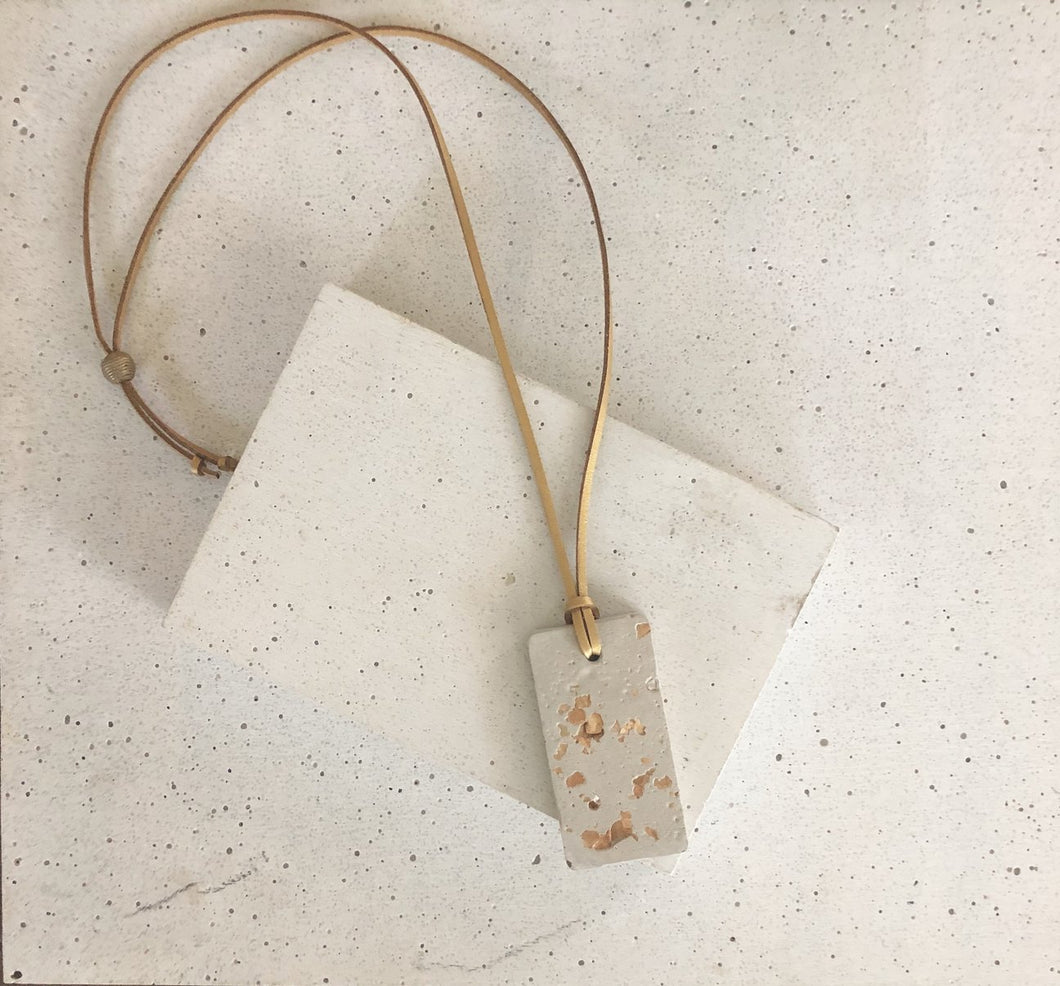 GOLD FOIL CONCRETE RECTANGLE PENDANT NECKLACE