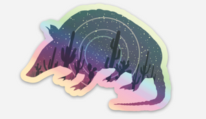 Holographic Star-madillo Sticker