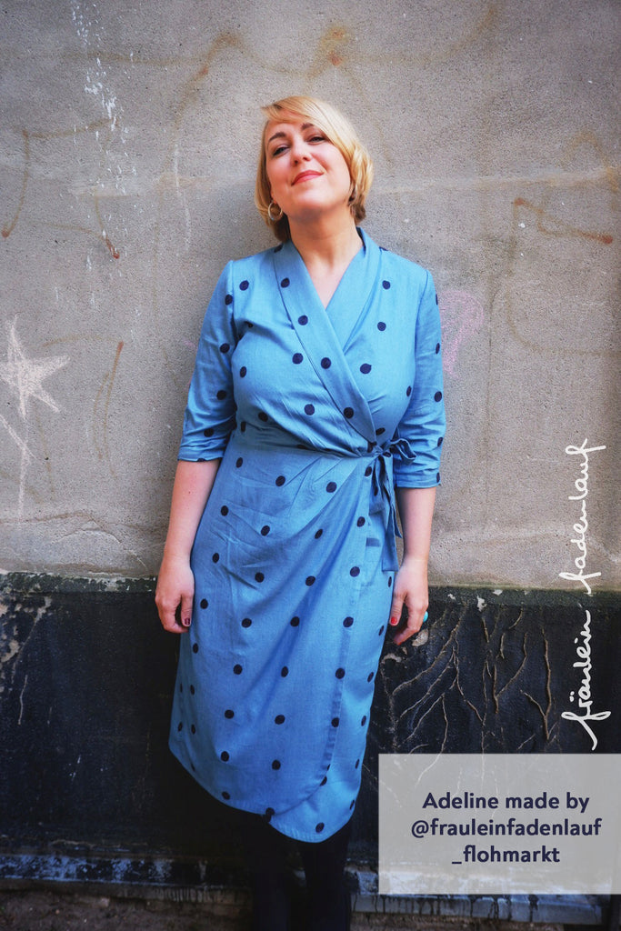 Forget-Me-Not Adeline wrap dress tester make in blue with polka dots