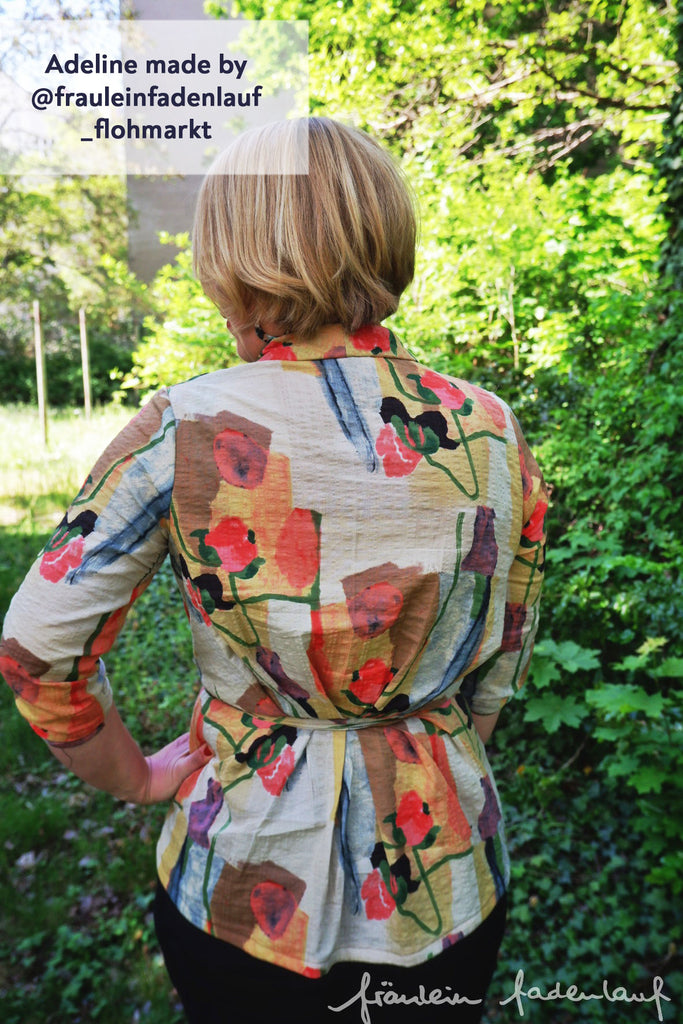 Forget-Me-Not Adeline wrap top tester make in pattern, rear view