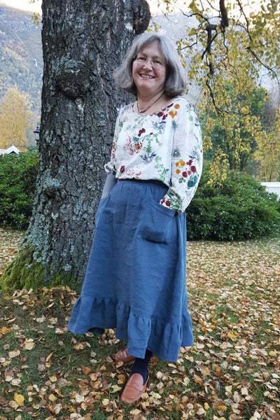 Forget-Me-Not Ella  skirt pattern make, long length with patch pocket, by Anne