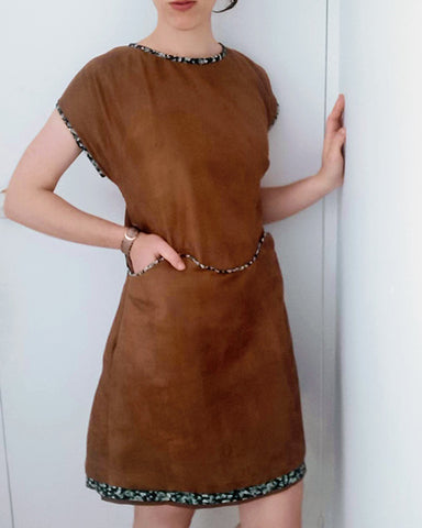 April A-Line dress in brown by April